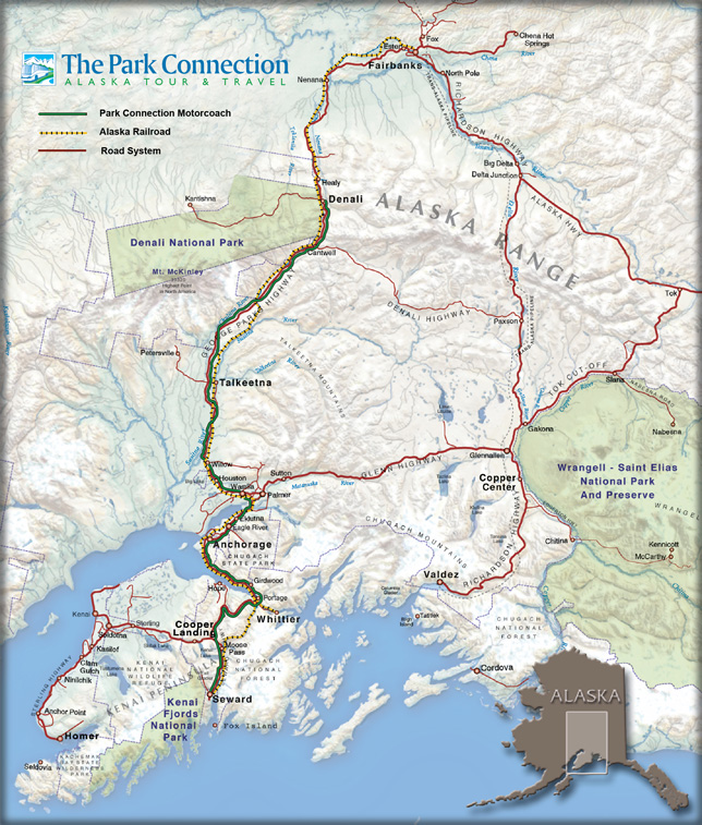 Alaska highway map showing Park Connection bus line and Alaska Railroad routes.