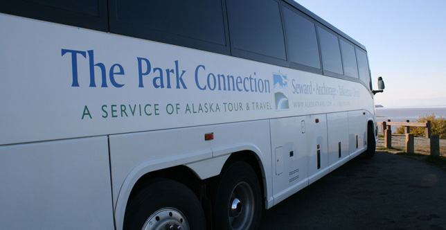 Ride the Park Connection bus line from Whittier to Talkeetna.