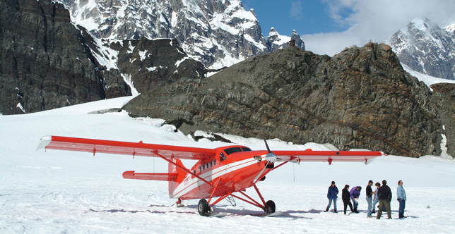 Take a scenic flight from Talkeetna to Mt. Denali.
