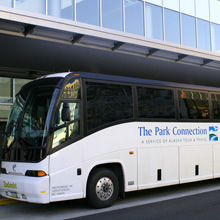Park Connection Motorcoach in downtown Anchorage.